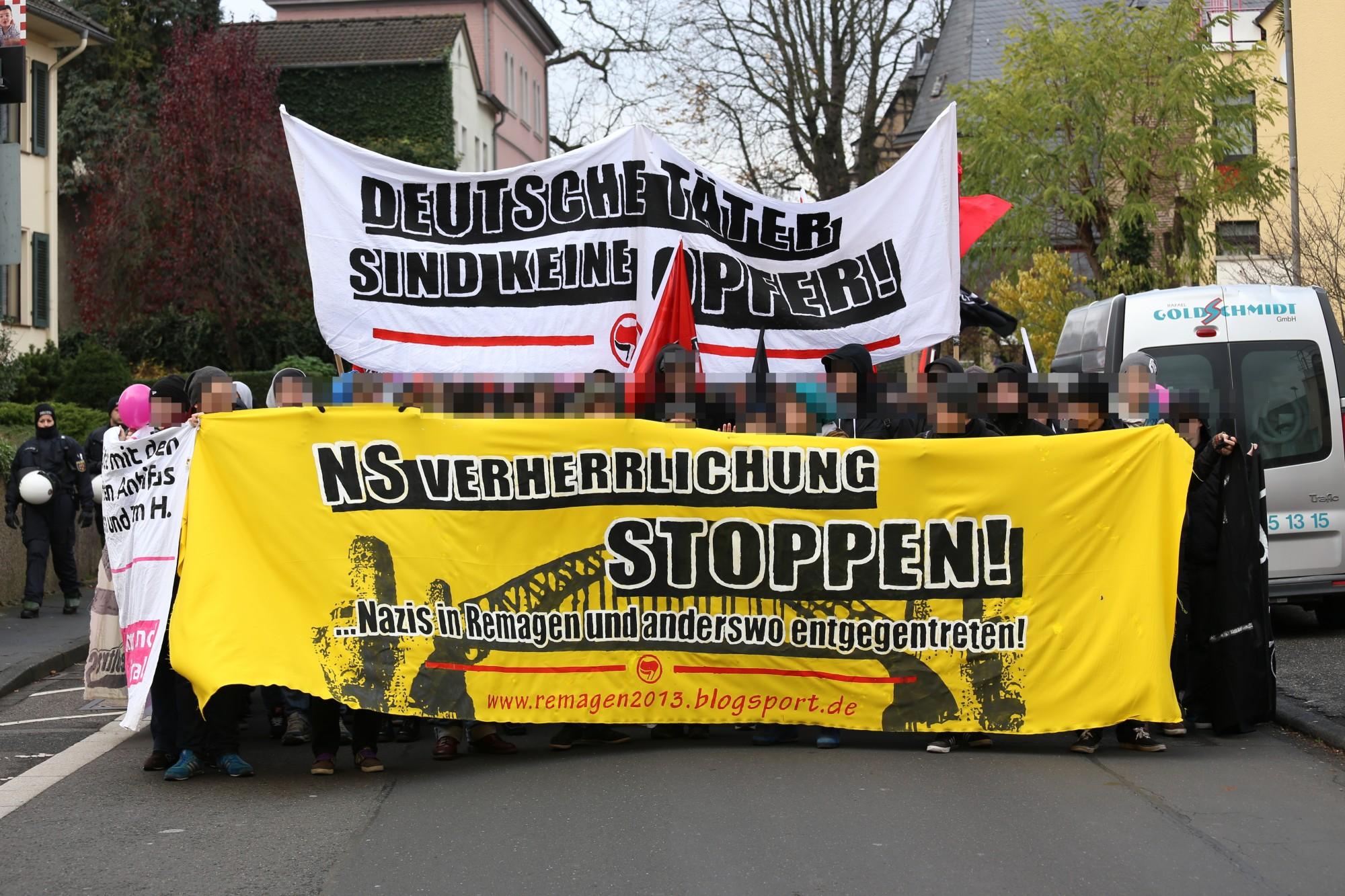 Remagen 2013: Deutsche Täter sind keine Opfer! NS Verherrlichung stoppen! ... Nazis in Remagen und anderswo entgegentreten!